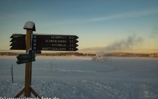 Nähe Äkäshotelli auf dem zugefrorenen See Äkäslompolo